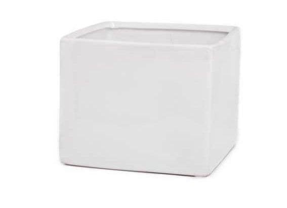 Ceramic Cube Pot White