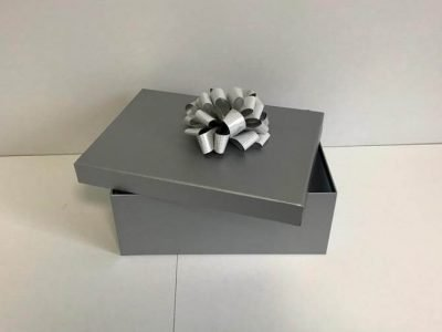 Grey Gift Box with Ribbon