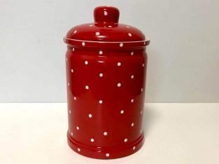 Retro Ceramic Red Cookie Jar