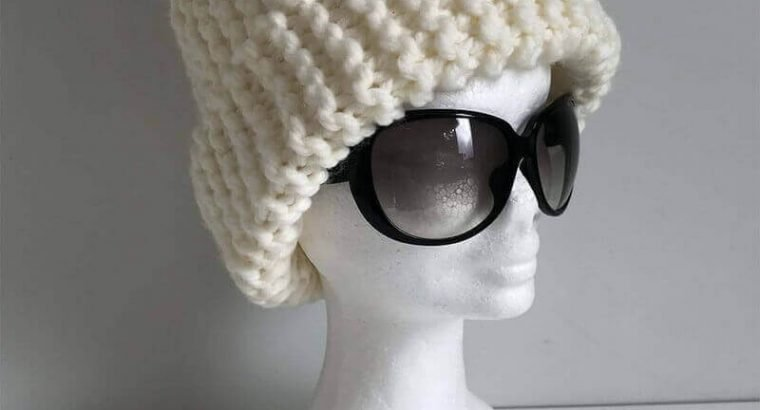Oversized Knitted Hat with Pom Pom