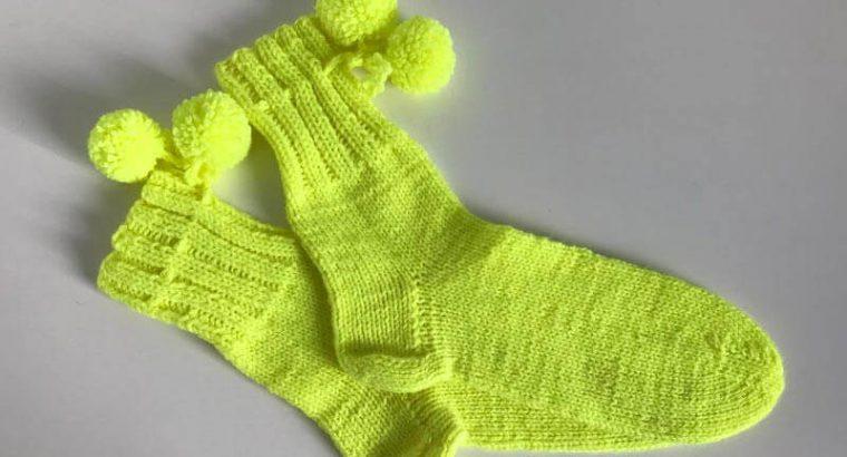 Yellow Knitted Socks with Pom Pom