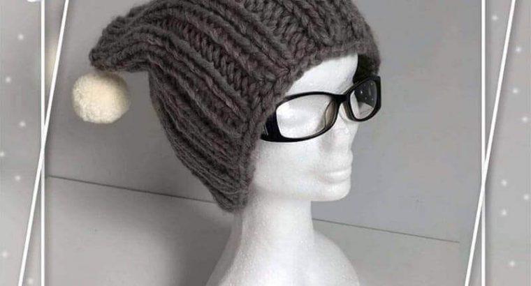 "Grey Knitted Hat ""Cat"" with Pom Pom"