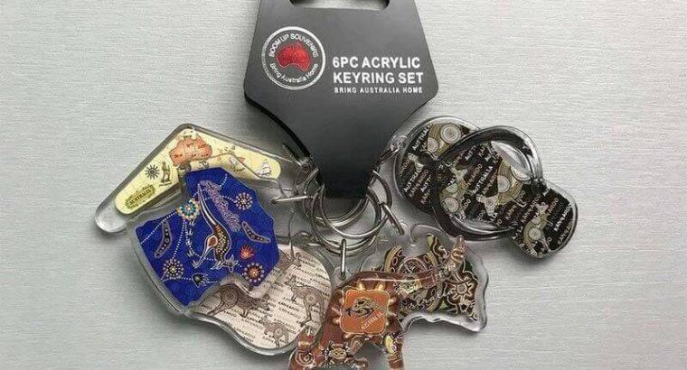 Souvenir 6PC Acrylic Keyring Set