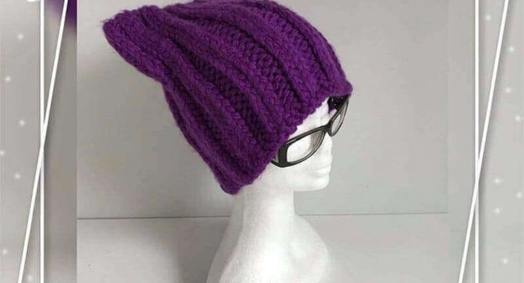 "Purple Knitted Hat ""Cat"""