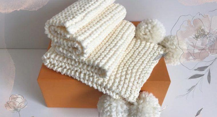 Ivory Knitted Scarf with Pom Pom
