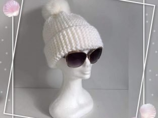 White Knitted Hat with Fur Pom Pom