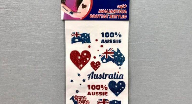 12pc Set of Australia Themed Temporary Tattoos