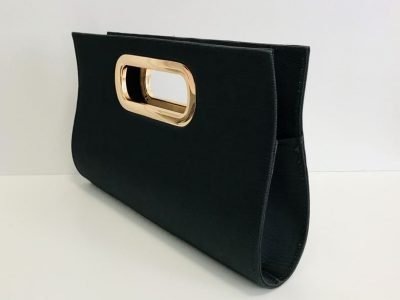 Ladies Black Clutch with Gold Shoulder Chain